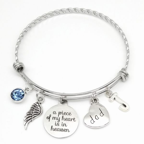 Dad remembrance sympathy bereavement bangle bracelet  gift personalised birthstone (3)